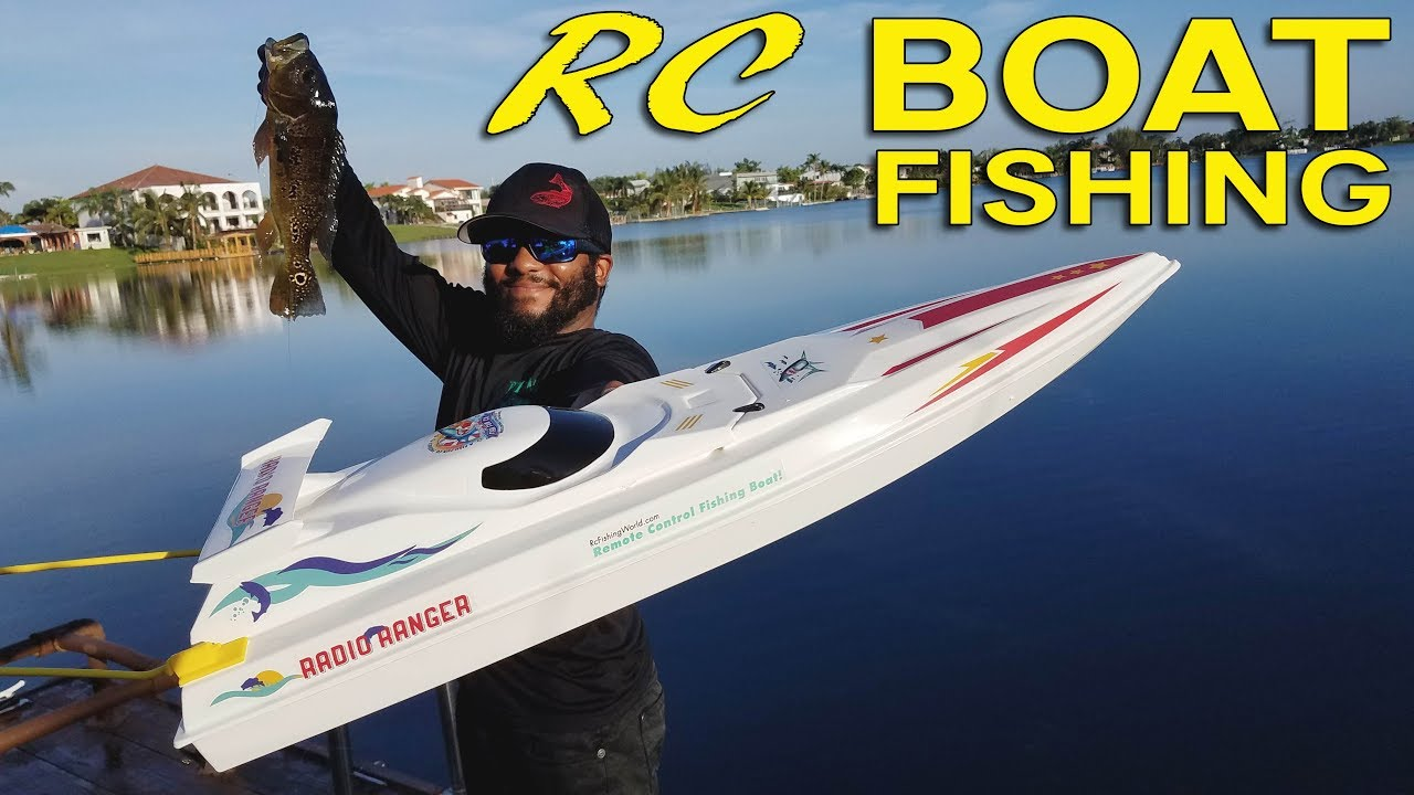 Rc boat fishing for big bass monster mike youtube for Rc boat fishing