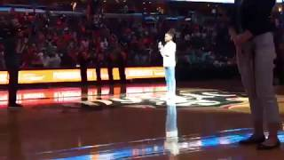 A special falsetto for this performance of the National Anthem