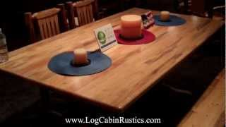 Rustic Farmhouse Table - Amish Pine Log Dining Table By Montana Woodworks