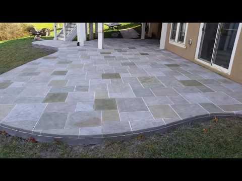 Salzano Custom Concrete,  multi-color, grouted stamped concrete patio