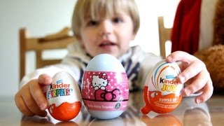 Hello Kitty Egg And Kinder Surprise Egg And Kinder Joy Egg - Opening Eggs Video
