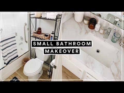 MINI SMALL BATHROOM MAKEOVER + ORGANIZATION HACKS 2019