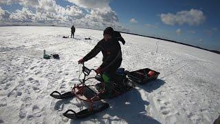Зимняя рыбалка на Водлозере Карелия апрель 2021 года