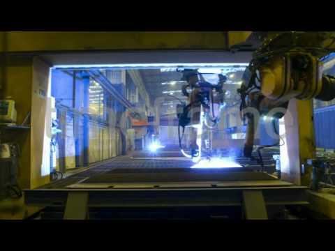 Shipyard robot welding steel, Germany - Time-lapse video