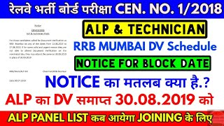 RRB Mumbai Alp & Technician DV Schedule Notice for block date & Expected Panel List Date
