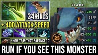 WTF + 400 Attack Speed & 300 Agi Steal Crazy Rage Fish | CANCER SLARK 34Kills Super Godlike DotA 2