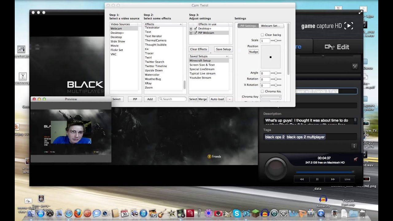 How to include a Facecam/Webcam in your Live Stream (Camtwist PIP Tutorial)