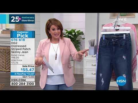 793c82ab66b1 DG2 by Diane Gilman Distressed Striped Patch Skinny Jean... - YouTube