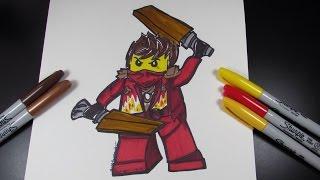How to draw Ninjago Kai the Red Ninja - Lego Speed Draw #31