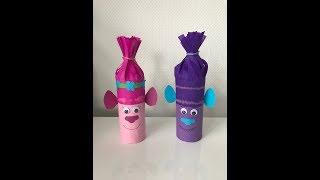 Тролли из рулонов от туалетной бумаги - поделки с детьми