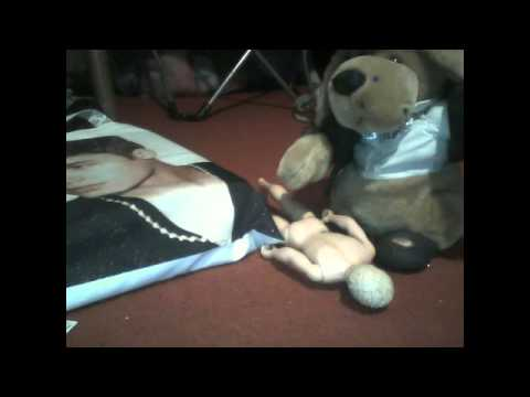 a niall horan doll doing something to a toy dog's foot