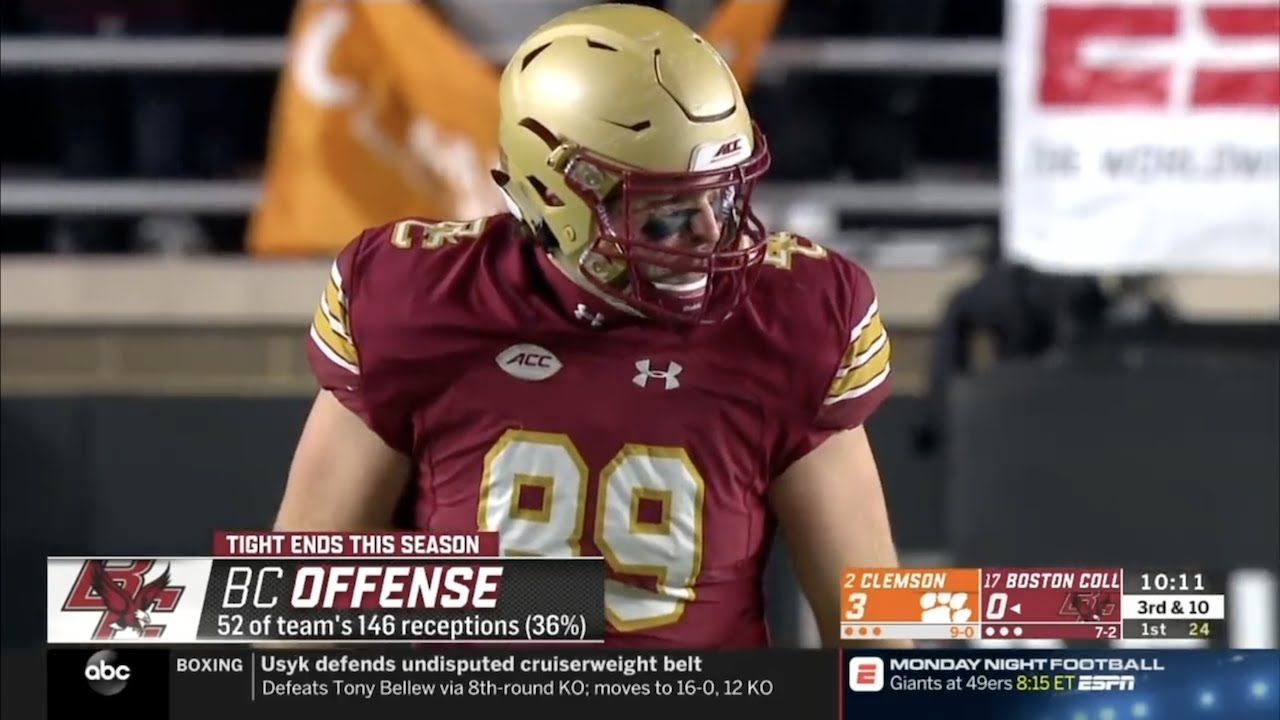 official photos 6bd16 abbb0 Tommy Sweeney (Boston College TE #89) Vs. Clemson 2018