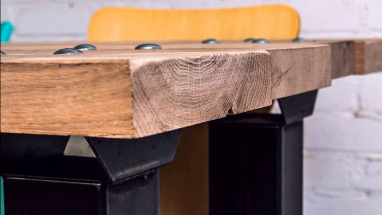 Eiken tafelblad kopen minimalistische u frame tafel met stalen