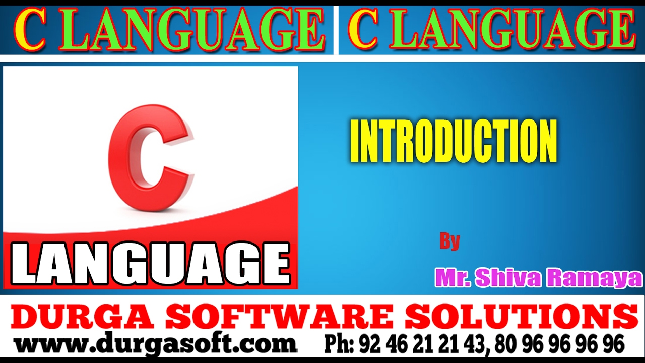 C- Language tutorials|| C Language introduction by ShivaRamaya