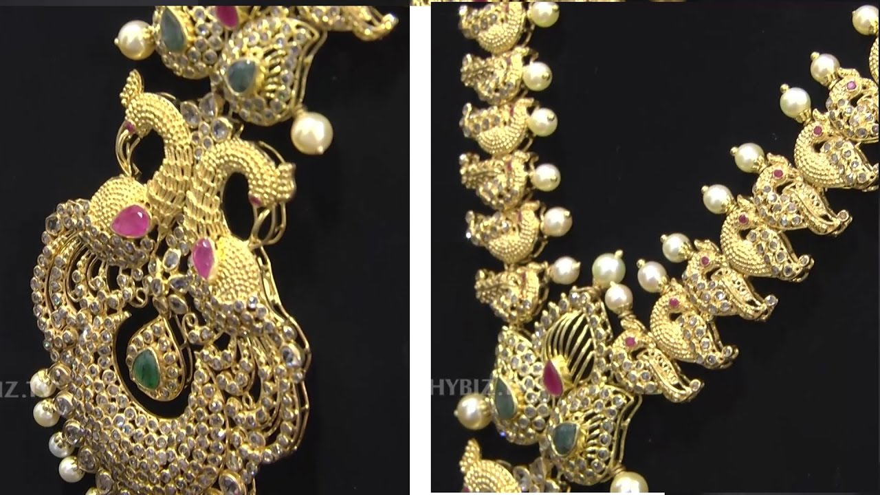 Latest Peacock Design Gold Long Haram | Malabar Gold and Diamonds by  HYBIZTV HD