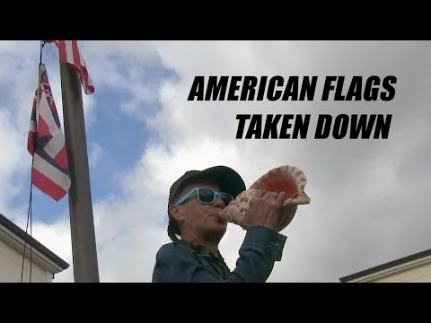 American Flags Taken Down By Hawaiian Kingdom Advocates at UH
