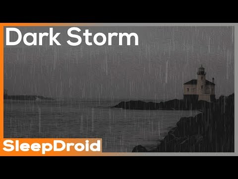 ► Dark Storm ~ Seaside Rainstorm Sounds for sleeping. Rain and Waves by the Ocean, Darker Screen