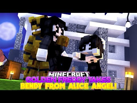 Minecraft FNAF GOLDEN FREDDY TAKES BENDY AND THE INK MACHINE-CAN ALICE ANGEL SAVE BENDY?- Baby Leah