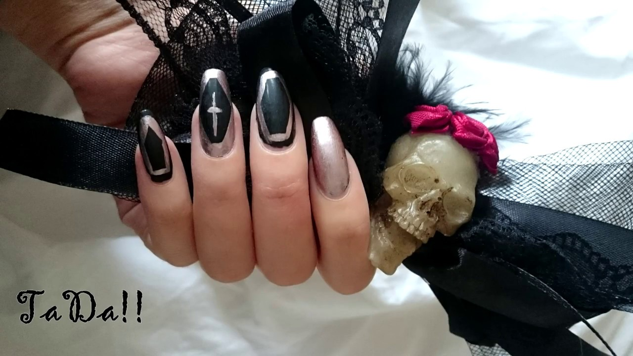 Halloween Inspired Matte Black Coffin Nails WIth Rosegold ...