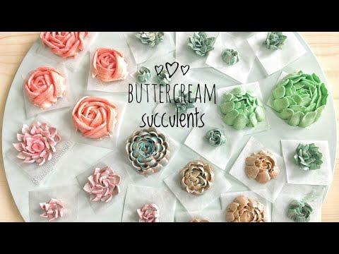How to pipe buttercream succulents - terrarium cake decorating buttercream succulent piping tutorial