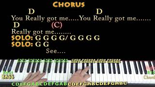 You Really Got Me (The Kinks) Piano Cover Lesson with Chords/Lyrics