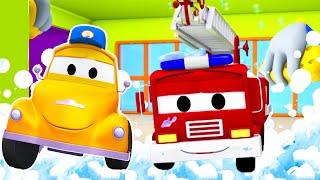 Frank el Camión Bombero en el lavado de Autos de Tom La Grúa | Dibujos animados para niñas y niños
