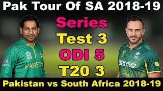 Pakistan Tour Of South Africa 2018-19 | Schedule, Fixture, Date & T...