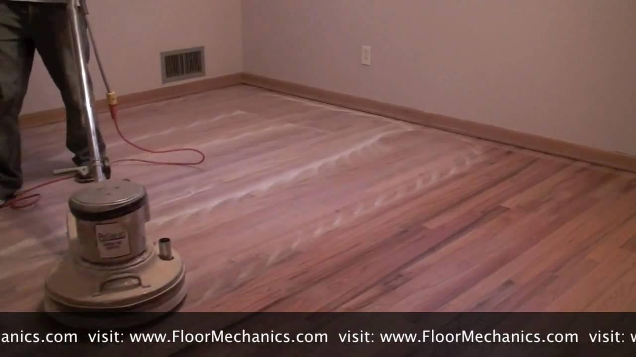 Hardwood floor refinishing Buffing between coats of finish  YouTube