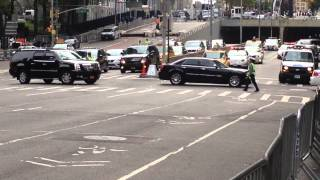 NYPD & UNITED STATES SECRET SERVICE ESCORTING A MOTORCADE DURING UNITED NATIONS GENERAL ASSEMBLY.