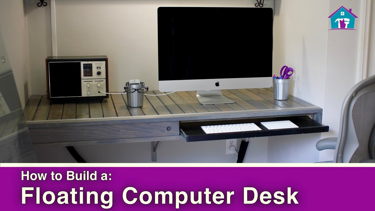 How to Build a Floating Computer Desk - YouTube
