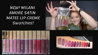NEW MILANI SATIN MATTE LIP CREME SWATCHES! All 12 | LIP SWATCHES | NEW DRUGSTORE| liquid lip