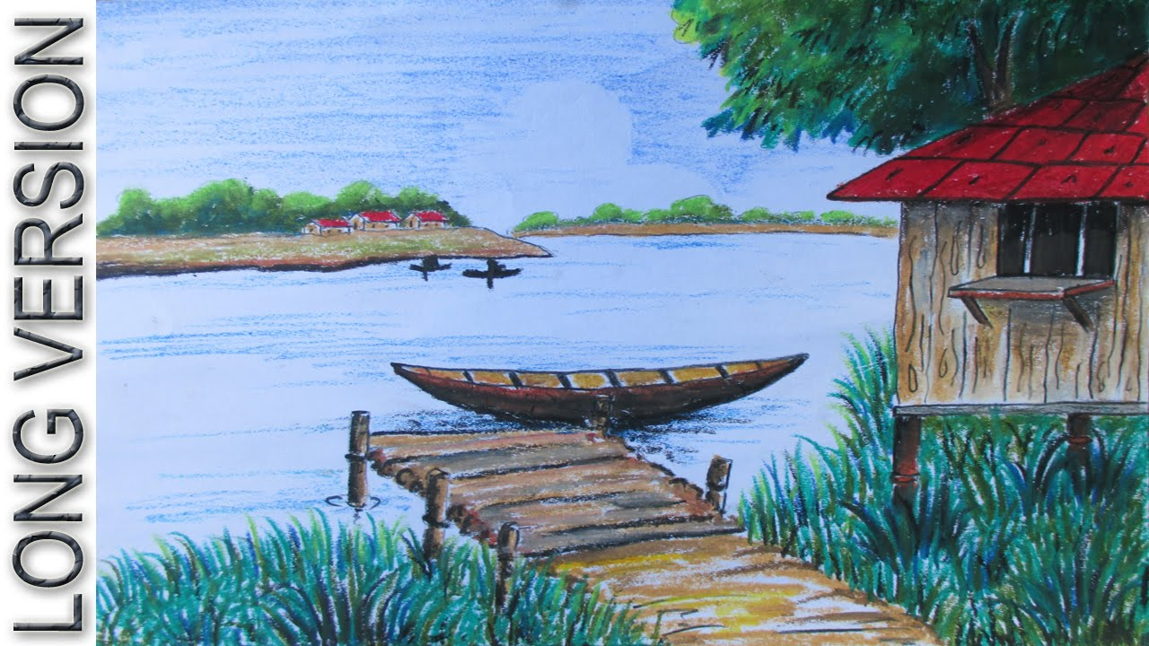 How to draw a riverside village landscape long version for Fish scenery drawing