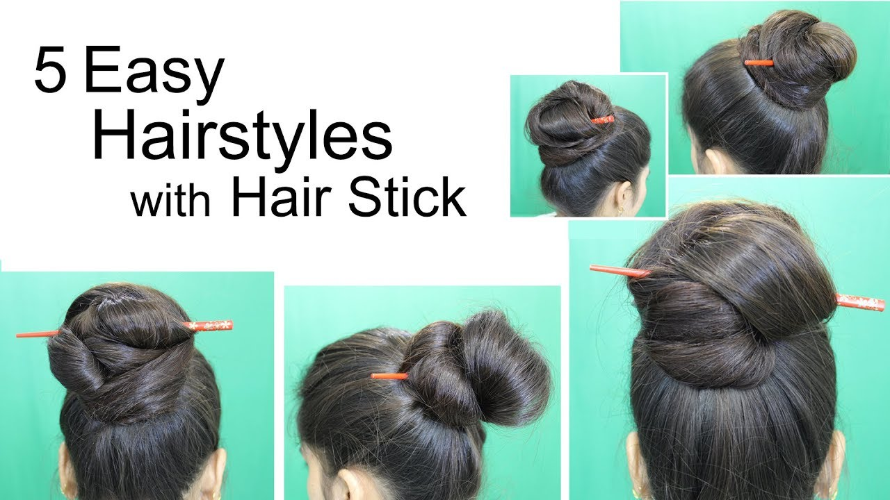 3211522b1 5 Awesome Hairstyles by using Hair Stick | Bun Hairstyles for medium or long  hair