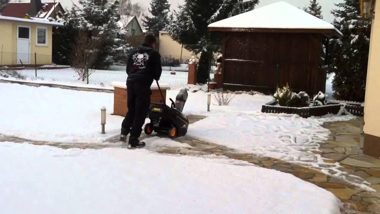 erster test der schneefräse - youtube