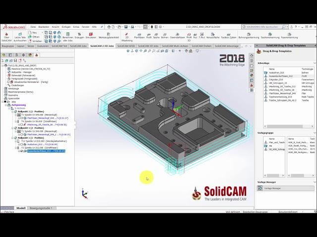 SolidCAM 2018 – Drag and Drop Vorlagen