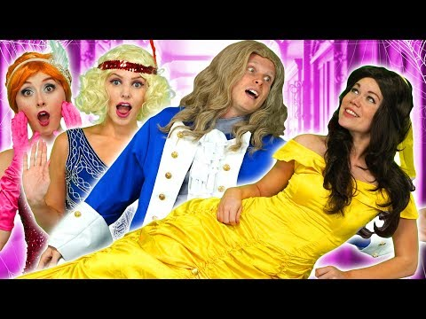 ADAM SAVES BELLE WHEN PRINCESSES ESCAPE HAUNTED HOUSE With Tiana Mulan Anna and her Sister