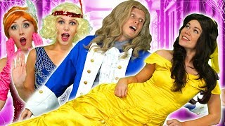 ADAM SAVES BELLE WHEN PRINCESSES ESCAPE HAUNTED HOUSE. (With Tiana, Mulan, Anna and her Sister)