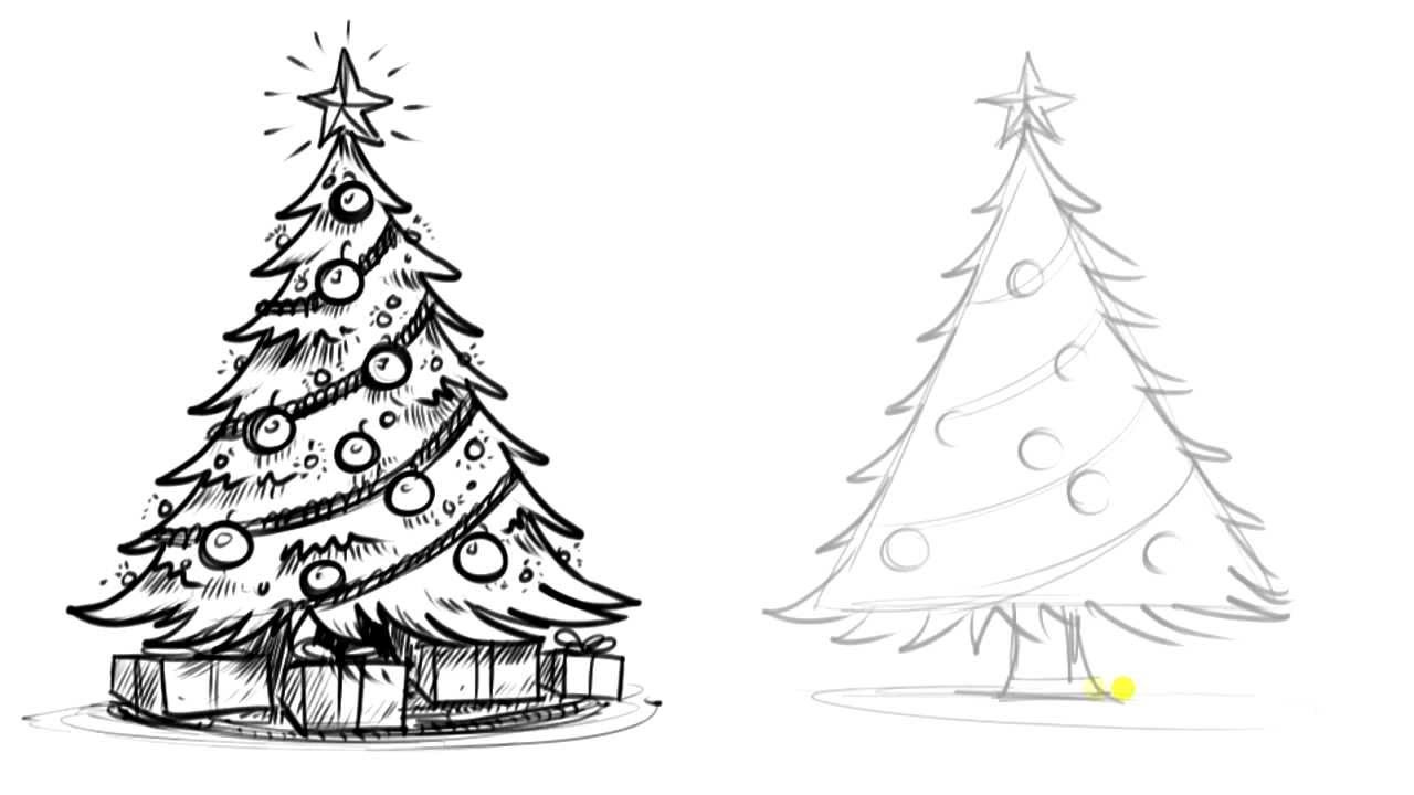 How To Draw A Realistic Christmas Tree Tutorial Youtube