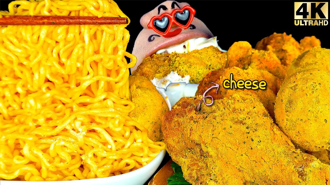 ASMR MUKBANG Cheese Fried Noodles & Cheese Chicken, Cheese Ball REALSOUND EATING SHOW