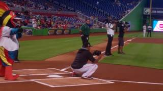 Video Ric Flair First (and Second) Pitch with AJ Ramos at Wrestling Night at Marlins Park July 2017 download MP3, 3GP, MP4, WEBM, AVI, FLV November 2017