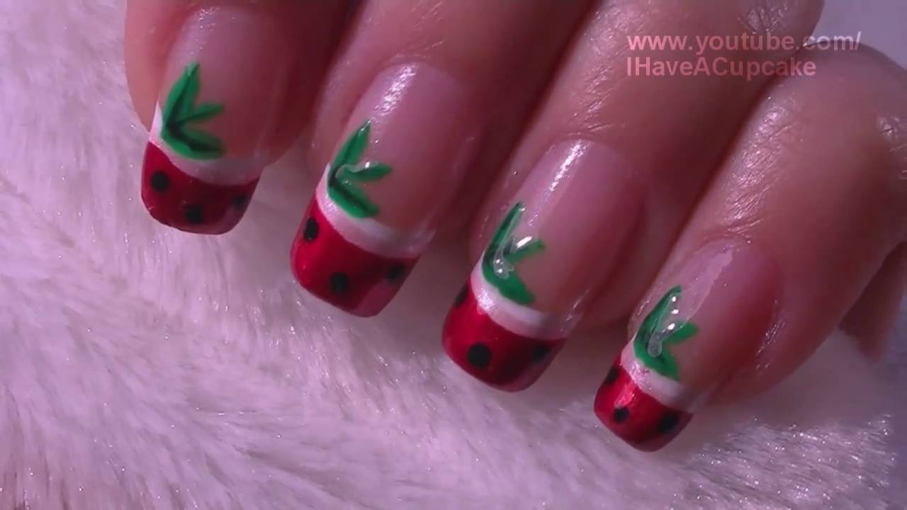 Strawberry French Tip Fruit Nail Art Tutorial / Arte para las uñas ...