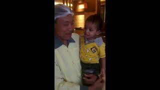 One year old twins strolling in Barbeque Nation