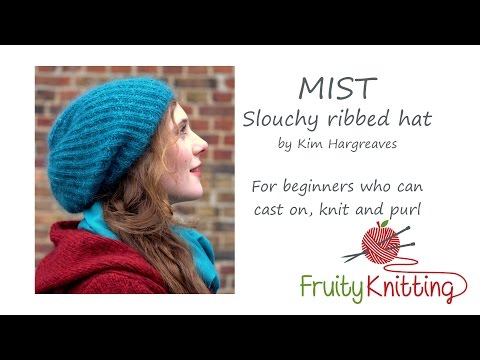 Mist Slouchy Ribbed Hat by Kim Hargreaves