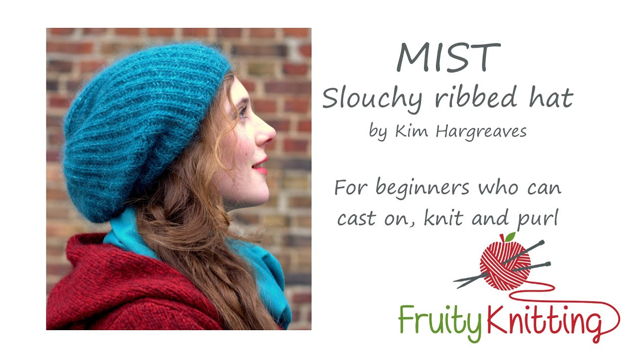 Mist Slouchy Ribbed Hat by Kim Hargreaves - YouTube