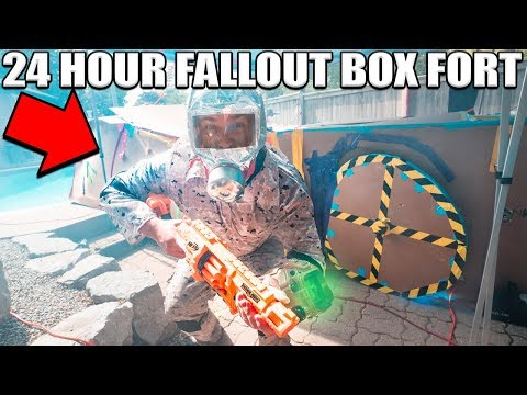 2 STORY FALLOUT BOX FORT!!  24 Hour Challenge!