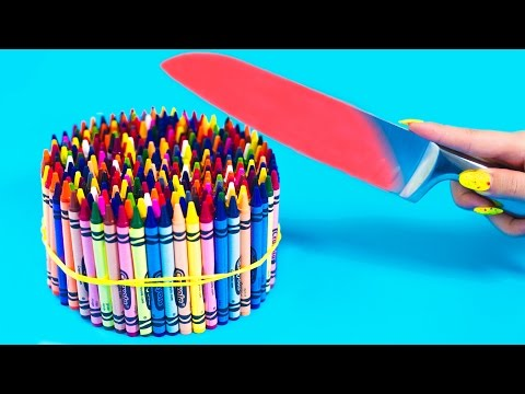 EXPERIMENT Glowing 1000 degree KNIFE VS 20 OBJECTS! Crayons Orbeez School Supplies Toys! SATISFYING