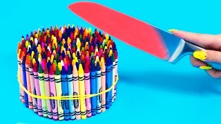 EXPERIMENT Glowing 1000 degree KNIFE VS 20 OBJECTS! Crayons Orbeez School Supplies Toys! COMPILATION
