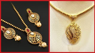 Top Stunning Gold Pendant And Gold Necklace Designs With Earrings
