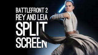 Battlefront 2 Split Screen Gameplay: REY and PRINCESS LEIA (Co-op Gameplay)