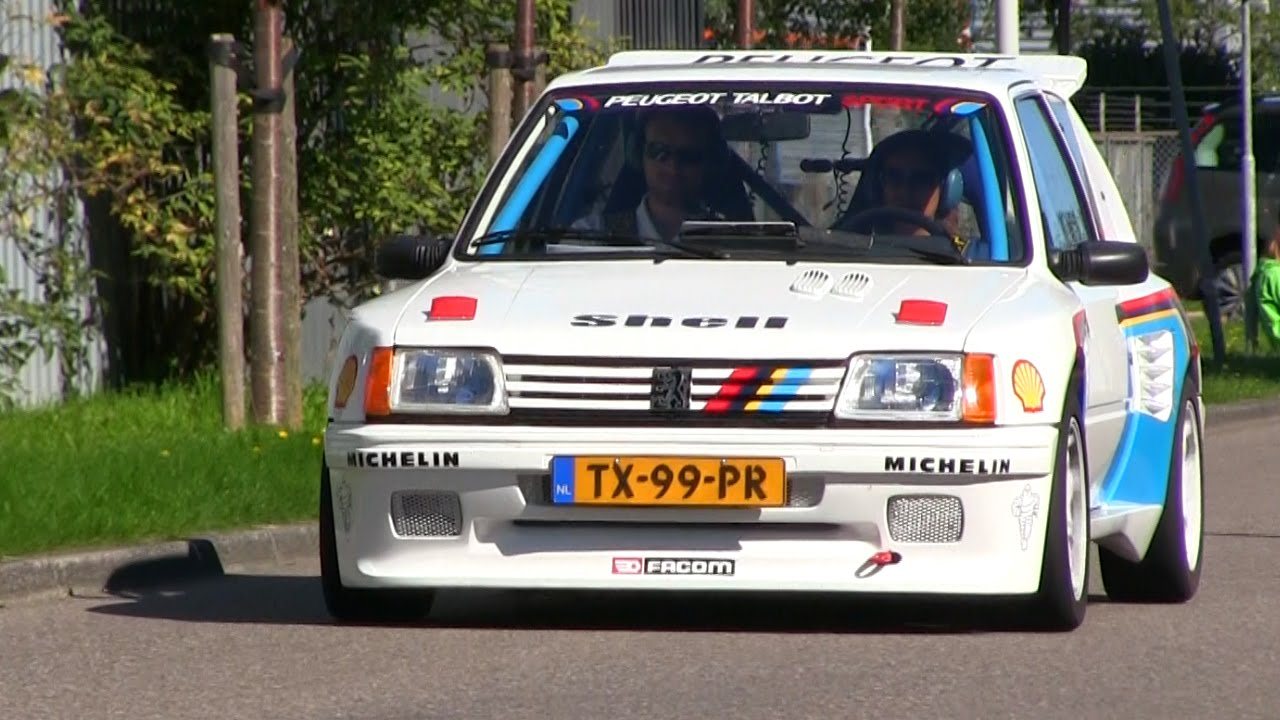 unique peugeot 205 rally car on the road loud sound youtube. Black Bedroom Furniture Sets. Home Design Ideas